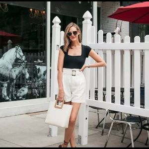 H&M Cream Belted Shorts